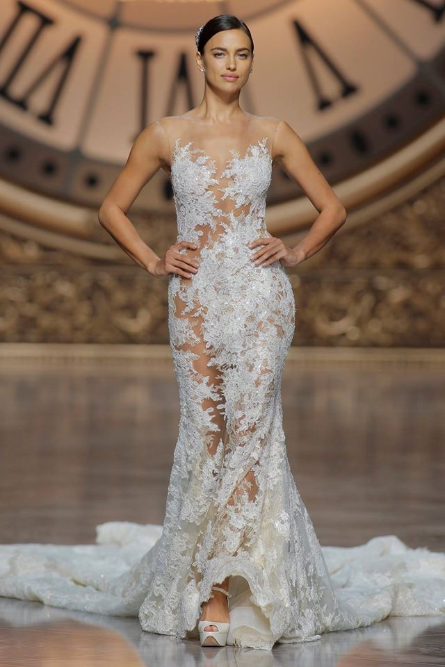 Irina Shayk walks the Atelier Pronovias 2016 bridal show