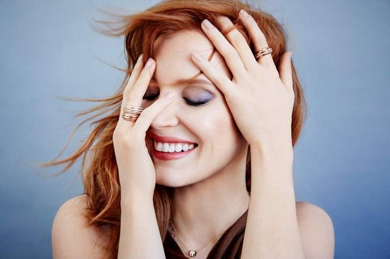 The red head actress stars in a campaign for the Swiss jewelry brand.