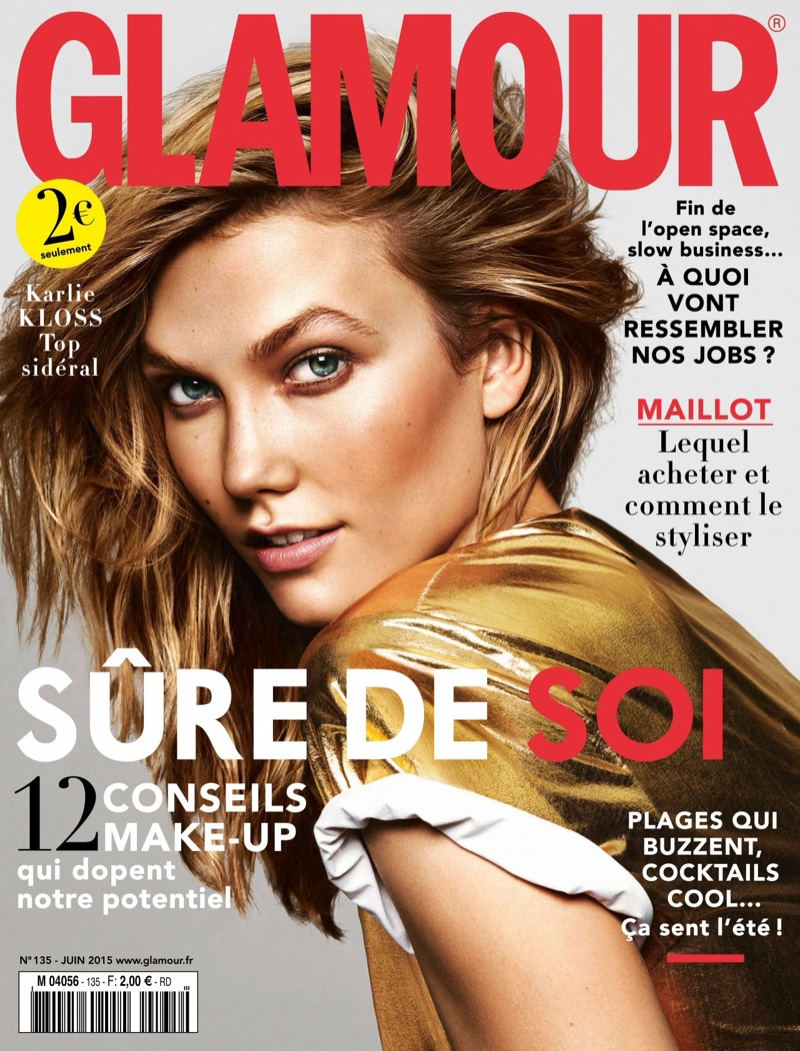 Karlie Kloss graces the June 2015 cover of Glamour France