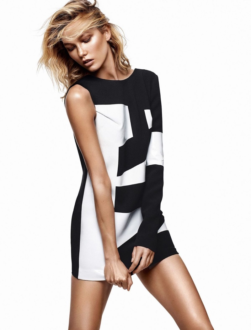 Karlie models a graphic print dress from Anthony Vaccarello