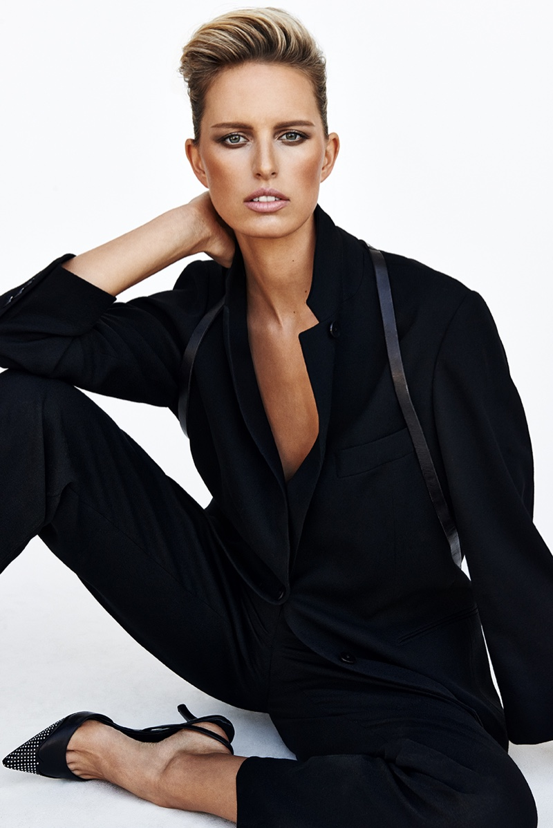 Karolina also models menswear inspired looks