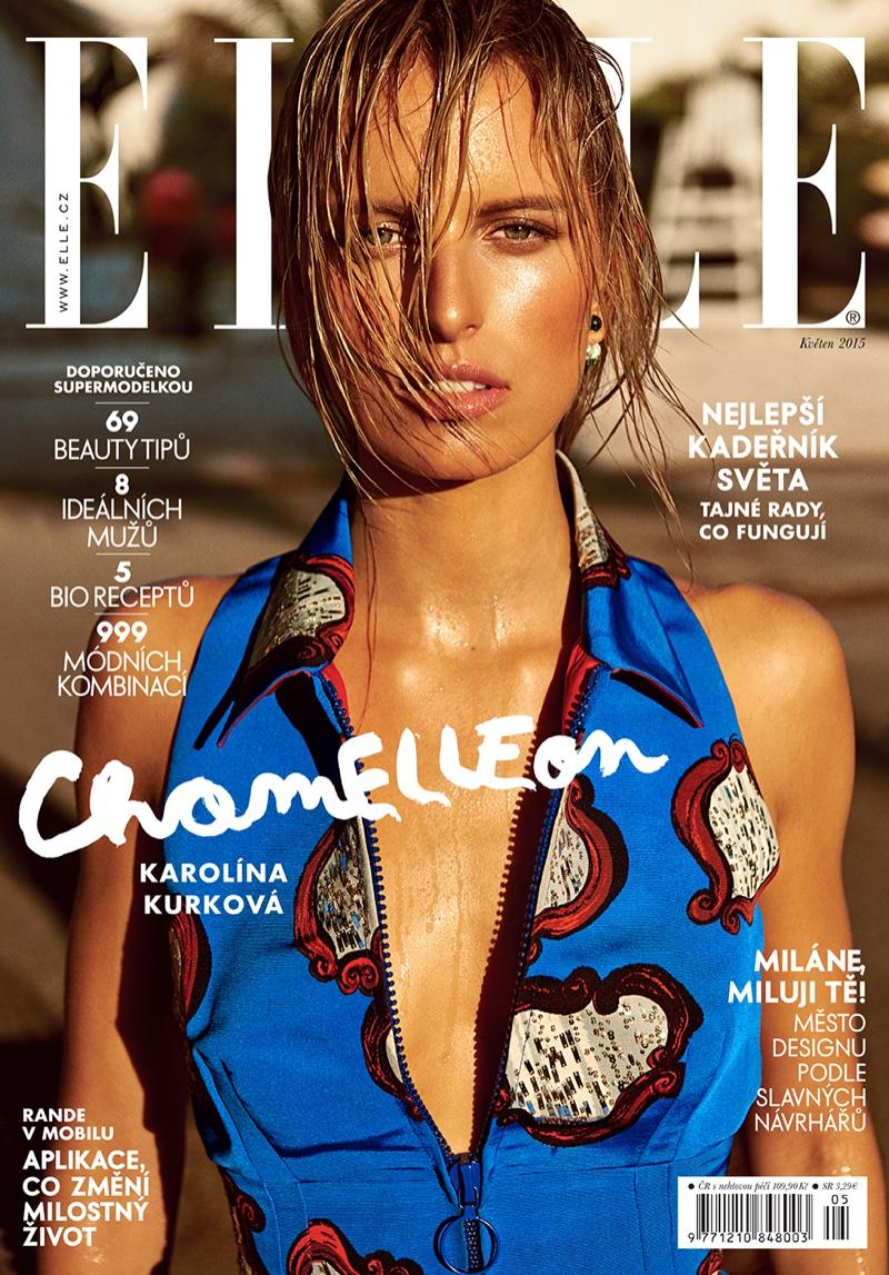 Karolina Kurkova covers the May 2015 issue of ELLE Czech