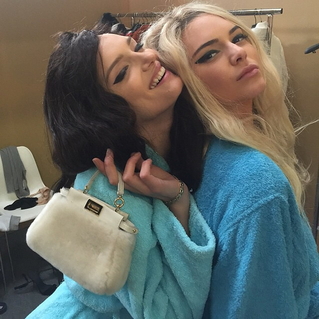 THE SWITCH UP: Kendall Jenner goes blonde while Lily Donaldson goes Brunette. Photo via Instagram
