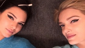Kendall Jenner and Lily Donaldson wear the perfect cat eye on set of Fendi campaign. Photo via Instagram.