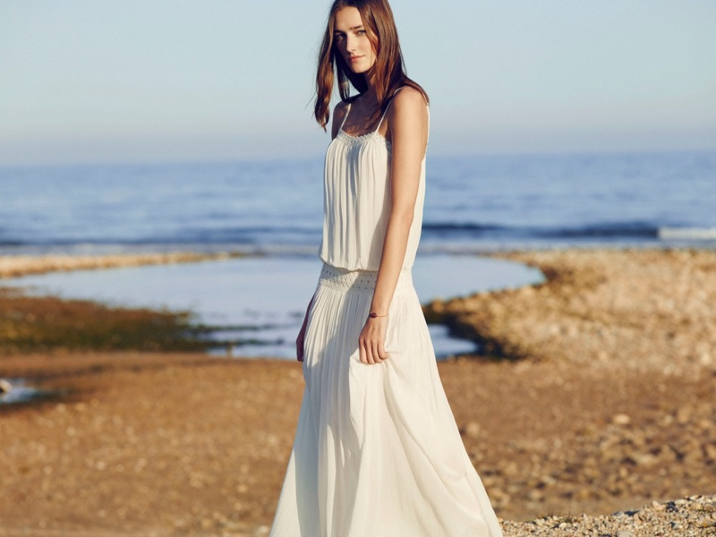 Josephine models a white maxi dress from Mango