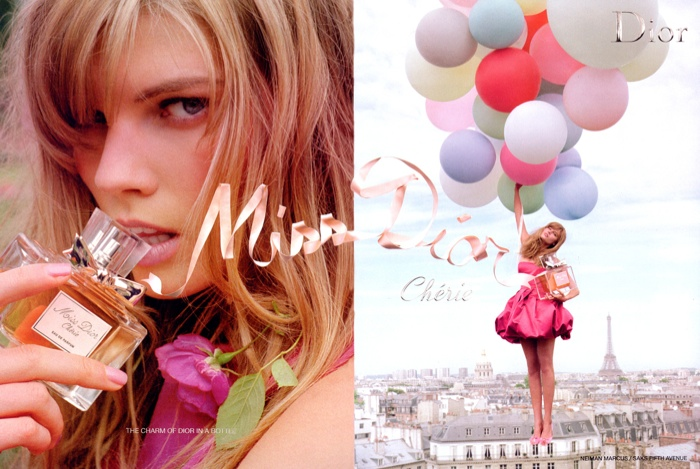 Miss Dior Cherie fragrance ad campaign from 2009 with model Maryna Linchuk.