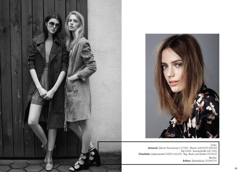 Models Antonia Wesseloh, Charlotte Nolting and Esther Heesch were photographed by Julian Niznik for the editorial