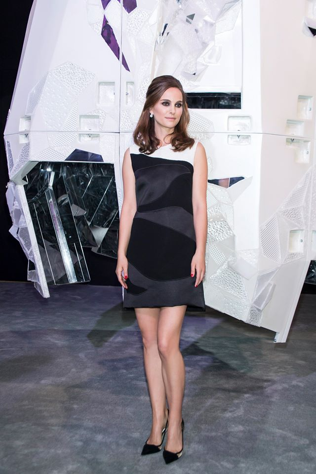 Natalie Portman Wears a LBD with a Twist at Miss Dior Exhibition