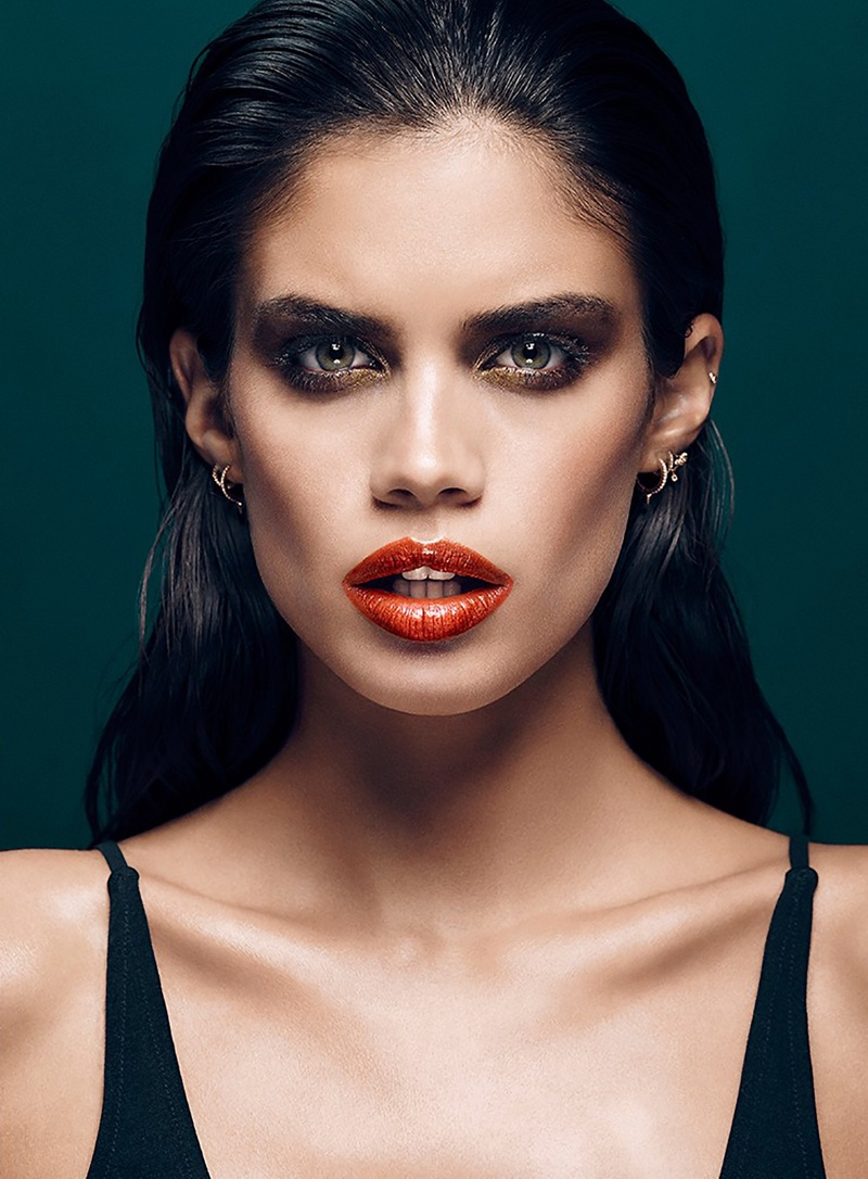 Bright lipstick shades are the focus of the beauty editorial