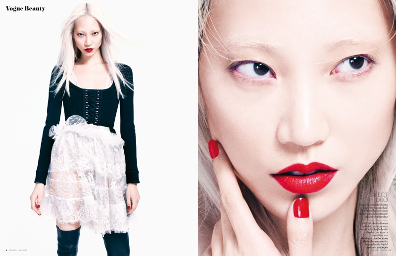 Soo Joo wears a Givenchy look in one image