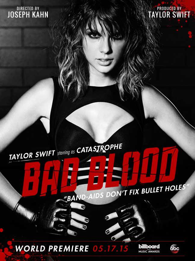 Taylor Swift on 'Bad Blood' music video poster