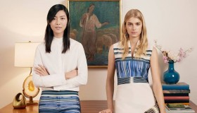 The designs are worn by models Liu Wen and Sigrid Agren