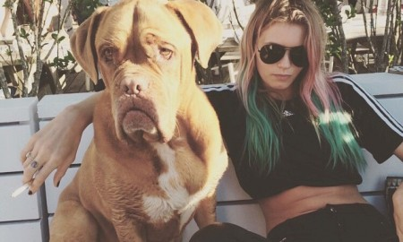 Model Abbey Lee Kershaw shows off new rainbow, pink and blue hair