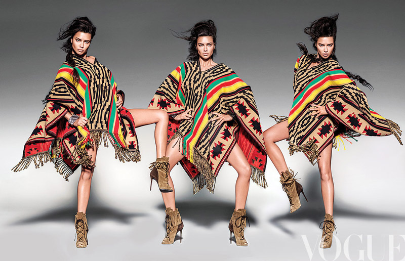 Adriana Lima models a poncho in Vogue Mexico's July issue photographed by Russell James
