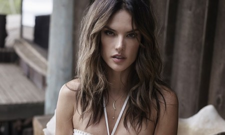 Alessandra pairs her bikini top with denim shorts