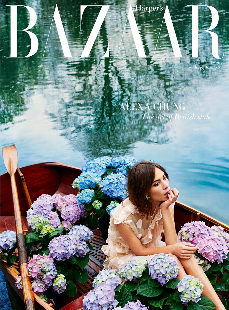Alexa Chung dons a Simone Rocha skirt and top on the subscribers cover of Harper's Bazaar UK