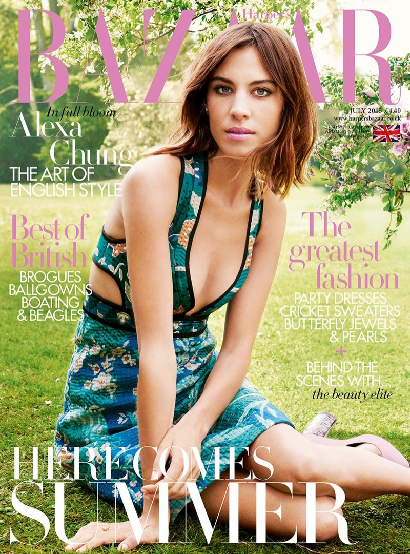 Alexa Chung graces the July 2015 cover of Harper's Bazaar UK