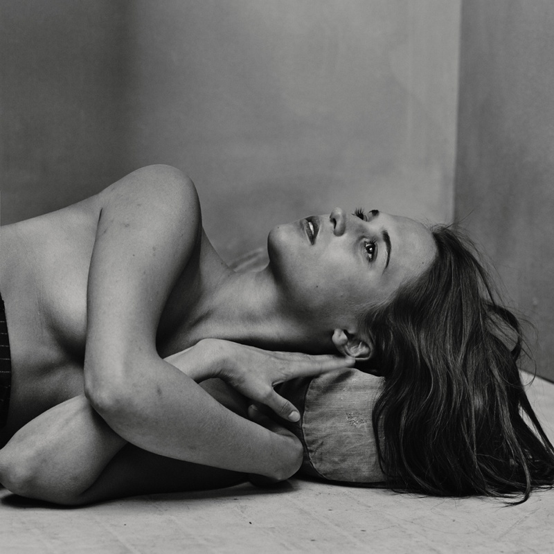 Alicia poses topless in this black and white image