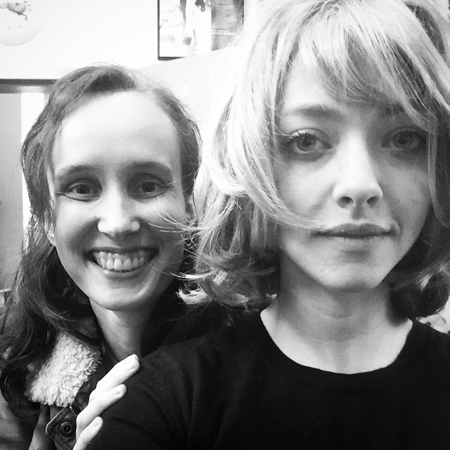 Amanda Seyfried sports a short wig featuring side-swept bangs at a bob length. Photo: Instagram