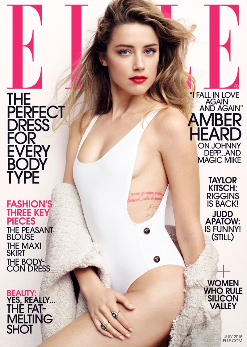 Amber Heard wears a swimsuit for ELLE's July 2015 cover
