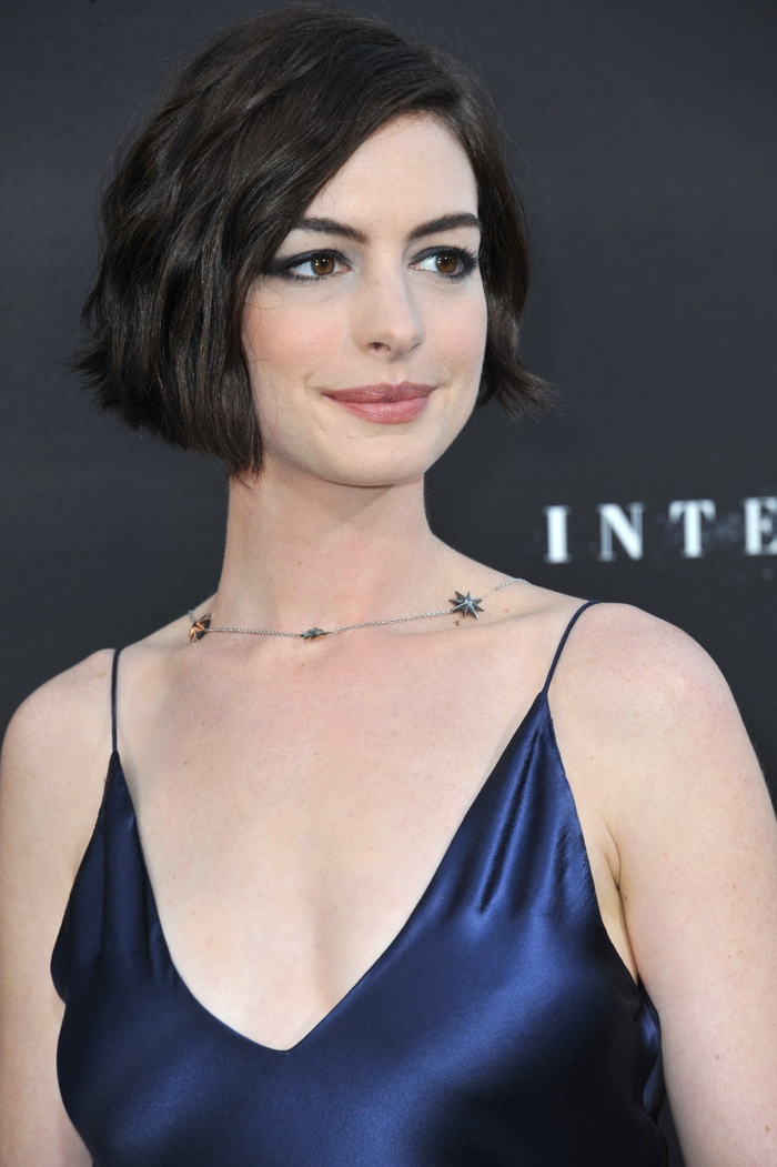 Anne Hathaway grew her hair out into a short bob in 2014. Here she is with an angular cut at the premiere of 'Interstellar'. Photo: Jaguar PS / Shutterstock.com
