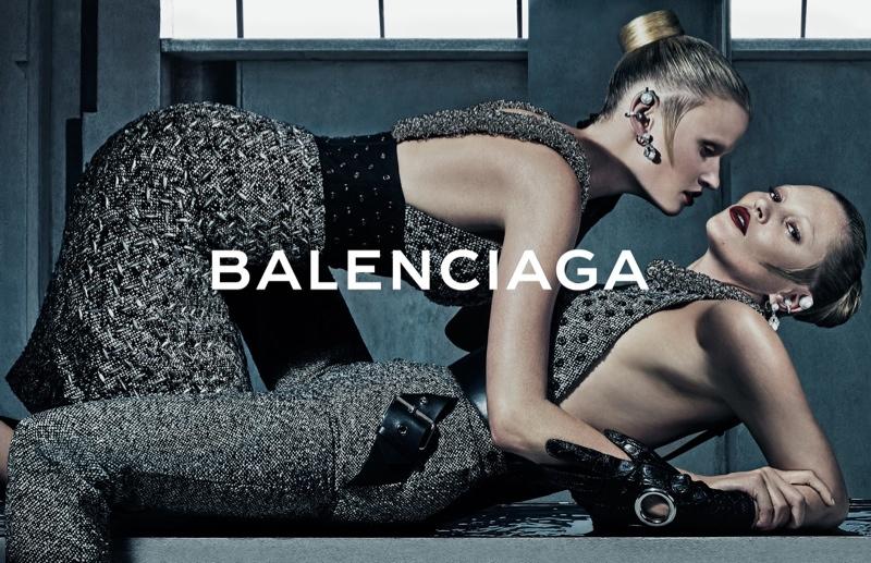 Lara Stone & Kate Moss embrace in Balenciaga's fall 2015 advertisements