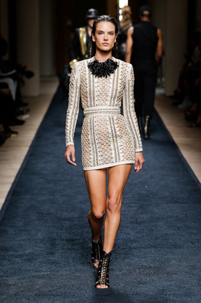 Alessandra Ambrosio, More Models Sport Body-Con Looks at Balmain's Spring 2016 Menswear Show