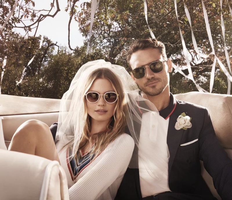 Behati Prinsloo stars in Tommy Hilfiger's eyewear campaign while playing newlywed