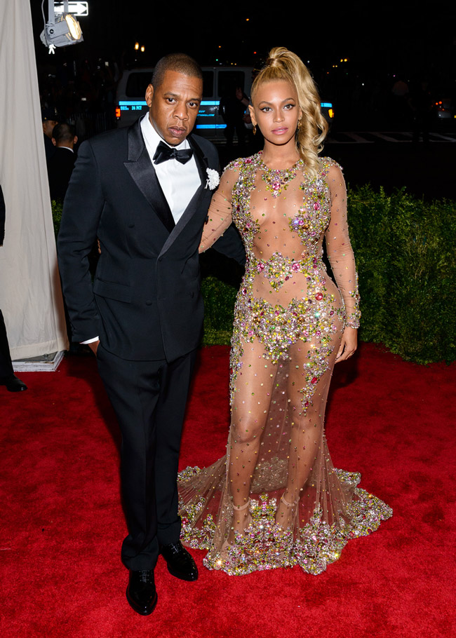 Beyonce was as close to naked as you can get at the 2015 Met Gala. The megastar opted for a sheer and crystal embellished Givenchy Haute Couture look designed by Riccardo Tisci. Photo: Electrolysis / Shutterstock.com
