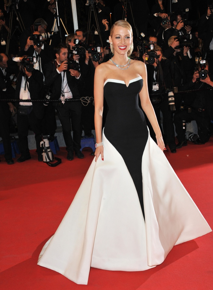 Blake Lively went full on vintage bombshell in a black and white ball gown from Gucci Premiere while at the 2014 Cannes Film Festival. Photo: Jaguar PS / Shutterstock.com