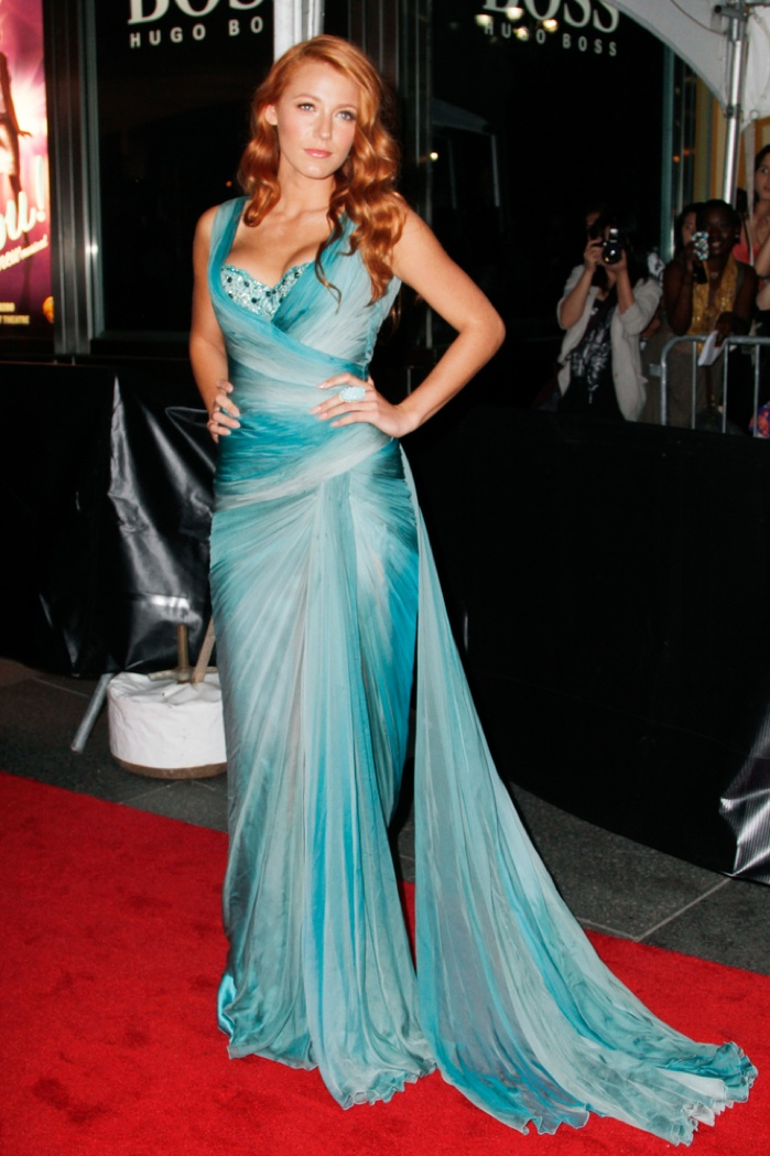 Blake opted for a blue gown from Zuhair Murad Couture at the Time 100 Gala held in 2011. The normally blonde star looked like a mermaid as a redhead. Photo: Debby Wong / Shutterstock.com