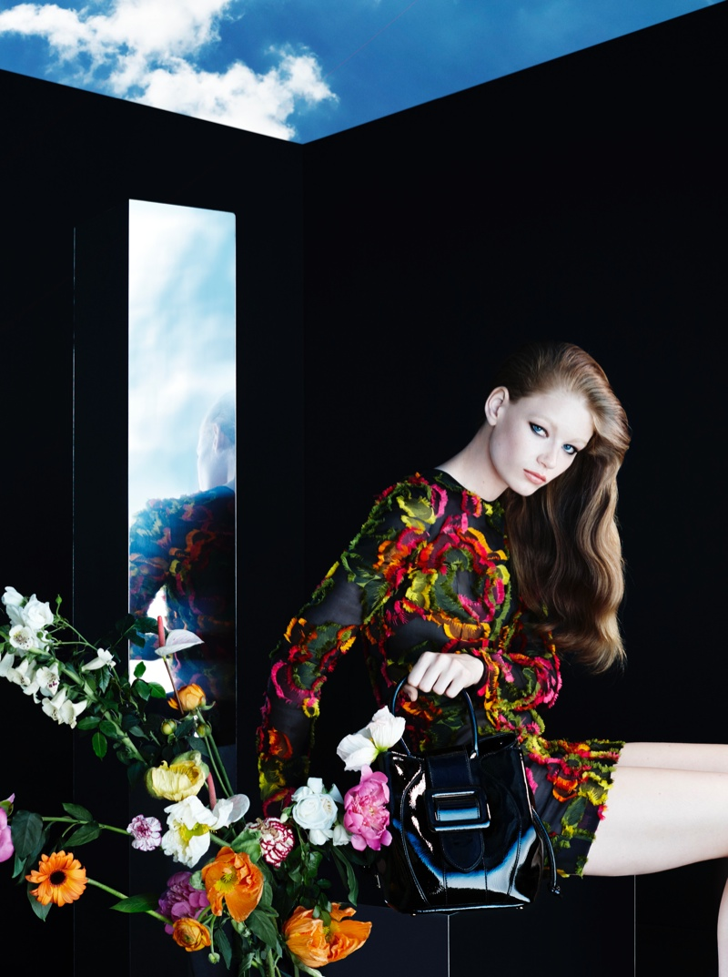 Hollie May Saker is a Floral Beauty in Blumarine's Fall 2015 Campaign