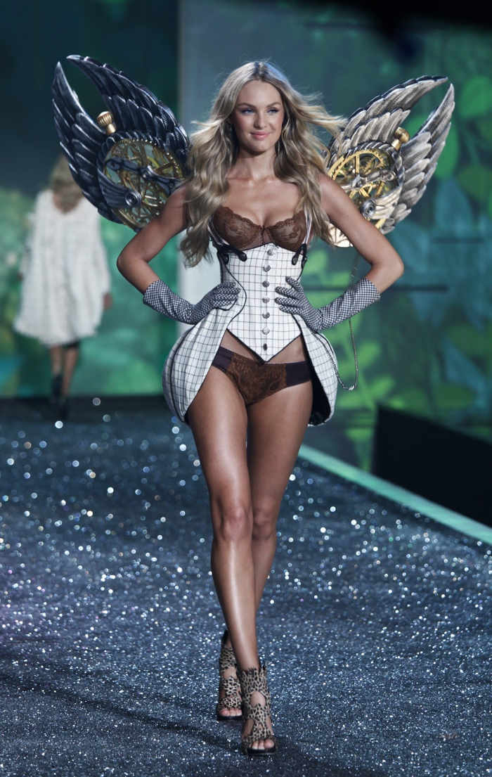 Candice Swanepoel walks the Victoria's Secret Fashion Show runway in 2009. The South African model strutted her stuff in wings and a corset inspired look. Photo: lev radin / Shutterstock.com