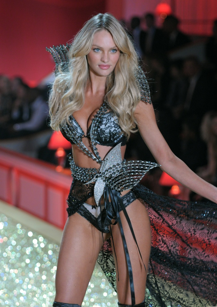 Here is another look from the 2010 Victoria's Secret runway with Candice in a black and sculptural lingerie look. Photo: Fashionstock / Shutterstock.com
