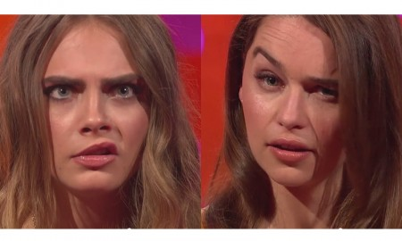 Cara Delevingne and Emilia Clarke compete in an Eyebrow Off on The Graham Norton Show