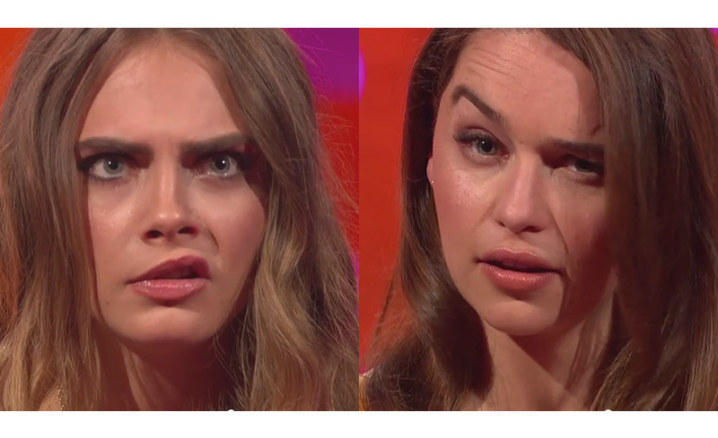 Watch Cara Delevingne & Emilia Clarke Compete in Hilarious 'Eyebrow-Off'