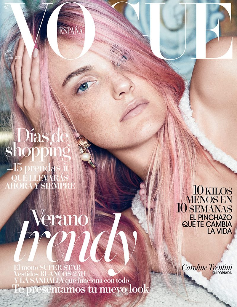 Caroline Trentini Tries the Pink Hair Trend on Vogue Spain Cover