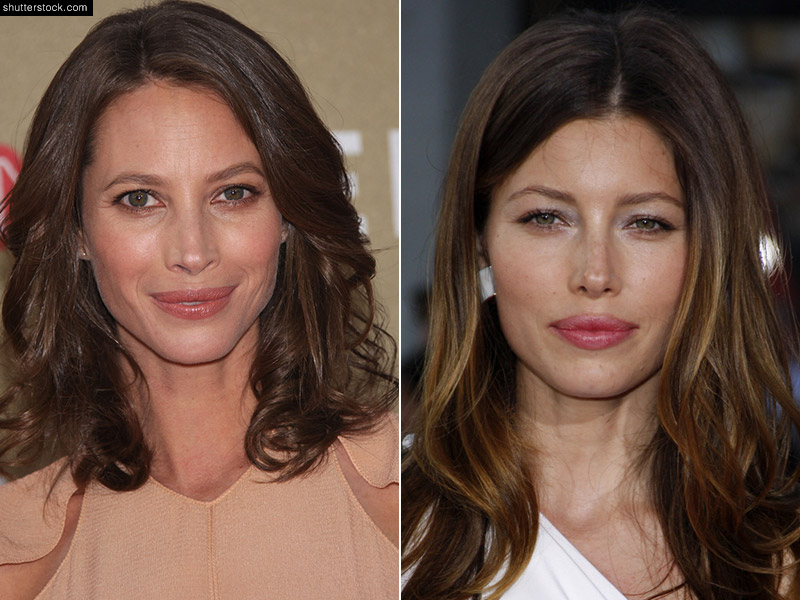Actress Jessica Biel (R) and supermodel Christy Turlington (L) are both dark-haired beauties who also happen to have similar features. Photo: Debby Wong / Everett Collection / Shutterstock.com