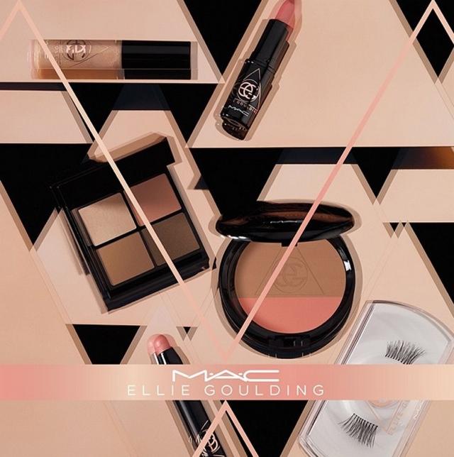The MAC x Ellie Goulding makeup line has neutral and blush tones.