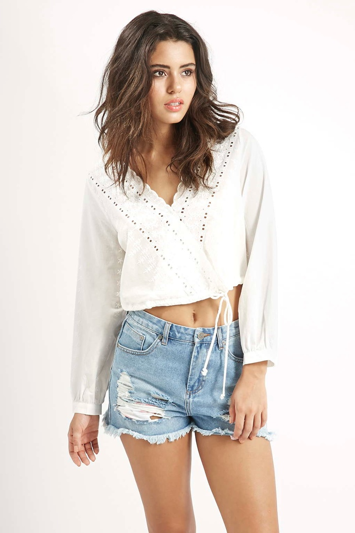 Embroidered Wrap Front Top by Kendall + Kylie at Topshop available for $70.00