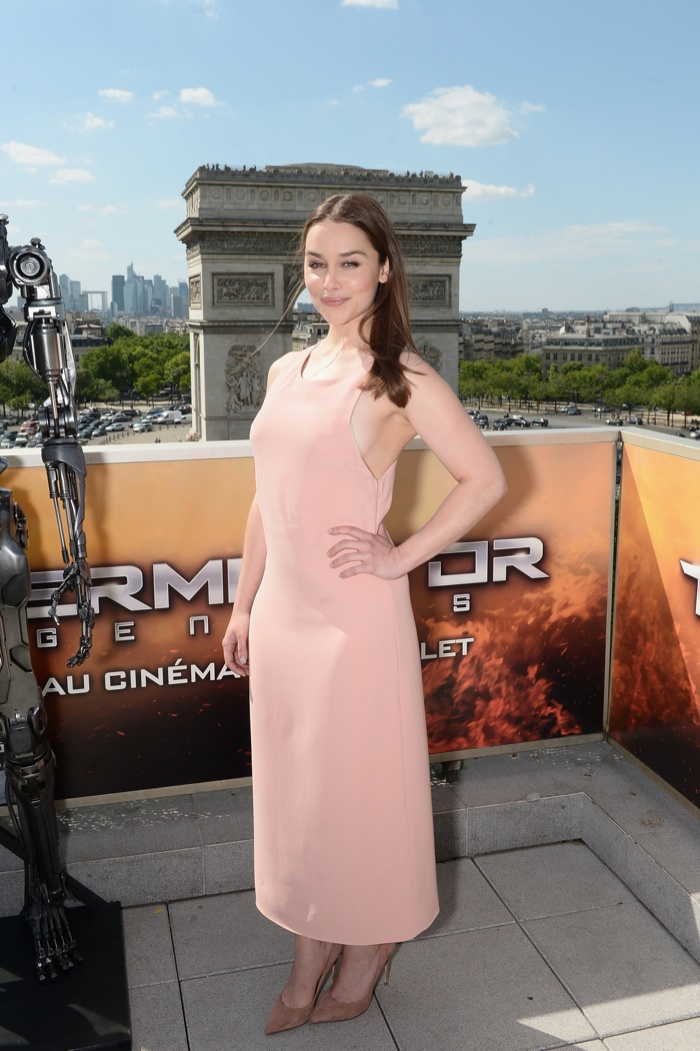 Emilia Clarke wears Calvin Klein Collection dress at Terminator Genisys photo call in France. Photo: ominique Charriau/Getty Images Entertainment