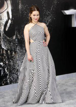 Emilia Clarke Embraces Bold Stripes at 'Terminator Genisys' LA Premiere