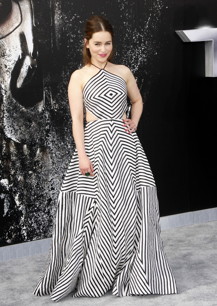 Emilia Clarke Embraces Bold Stripes at 'Terminator Genisys' LA Premiere