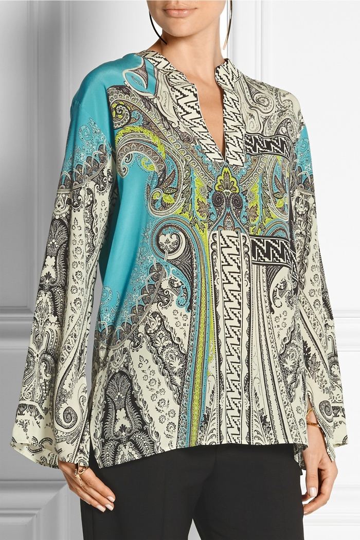 Etro Printed Silk Crepe de Chine Top available for $1,020
