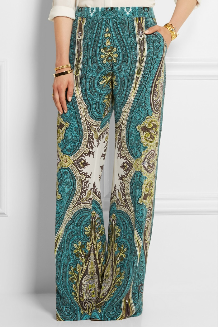 Etro Printed Silk Crepe de Chine Wide Leg Pants available for $1,310