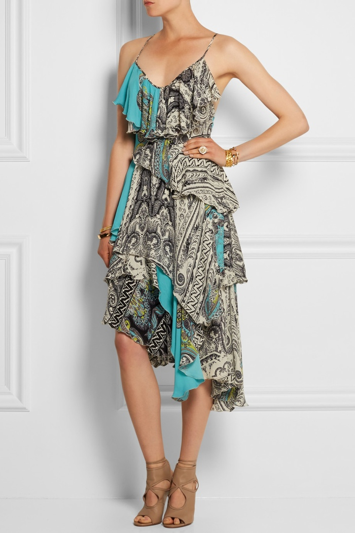 Etro Ruffled Printed Silk Crepe de Chine Dress available for $2,810