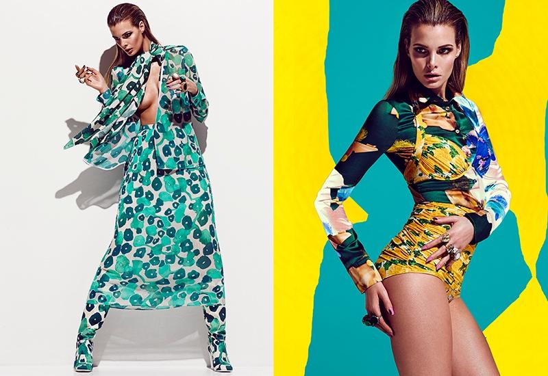 (L) Jesiann wears a Max Mara look from head to toe (R) The model wears a yellow swimsuit