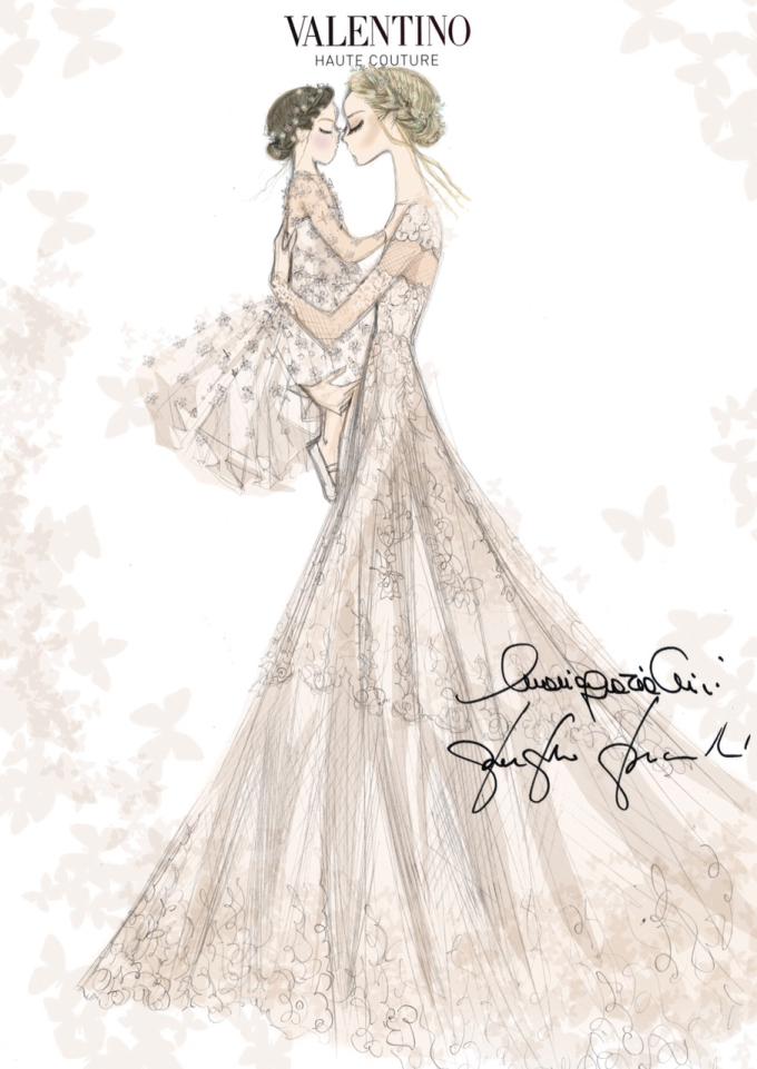 Sketch of Frida Giannini's Valentino wedding dress