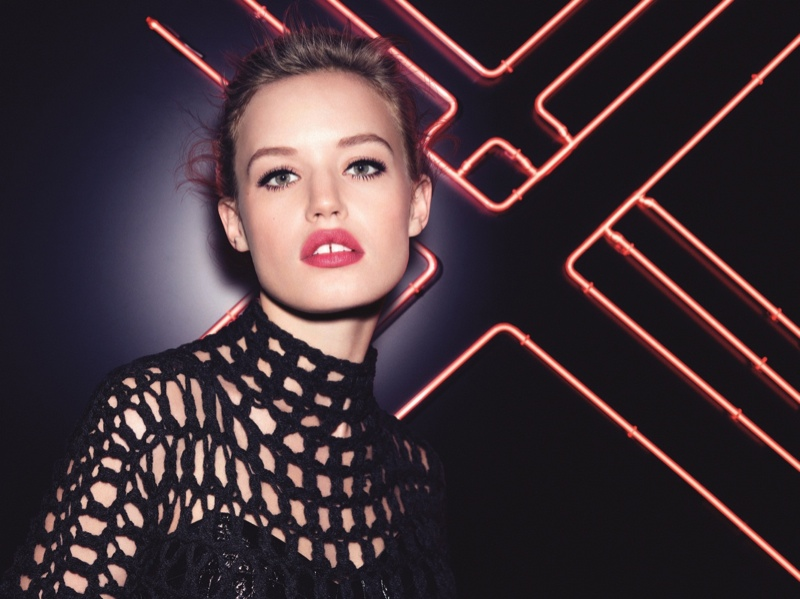 Georgia May sports a red lip in Rimmel London advertisement