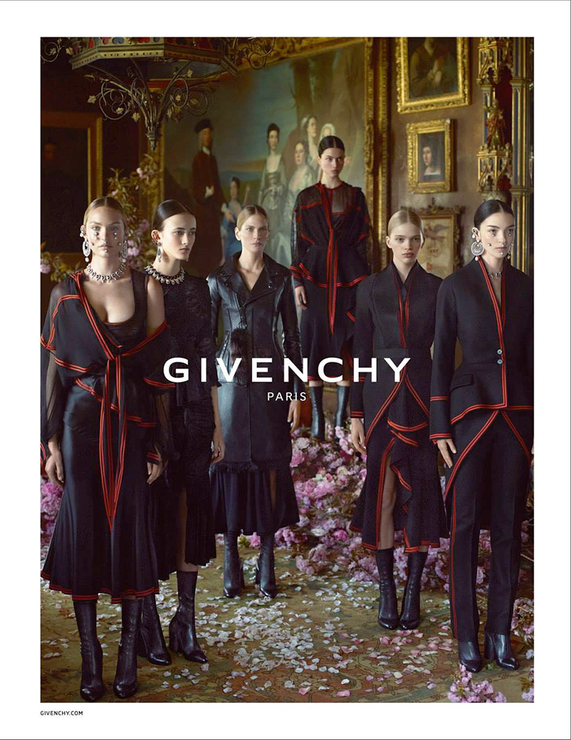 Givenchy fall 2015 campaign featuring Mariacarla Boscono, Candice Swanepoel, Frankie Rayder, Greta Varlese, Isis Bataglia and Stella Lucia Deopito